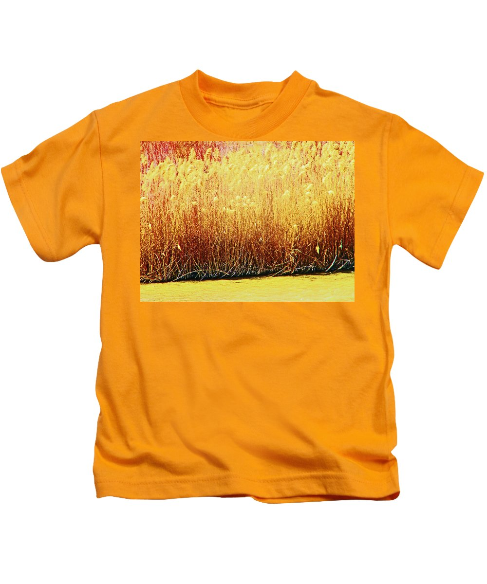 Abstract Kids T-Shirt featuring the photograph Pueblo Downtown River Grasses 4 by Lenore Senior