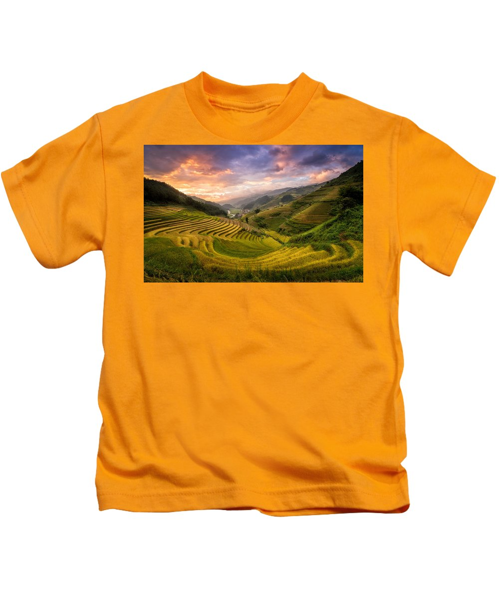 Rice Terraces Kids T-Shirt featuring the photograph Rice Terraces by Pham Ty