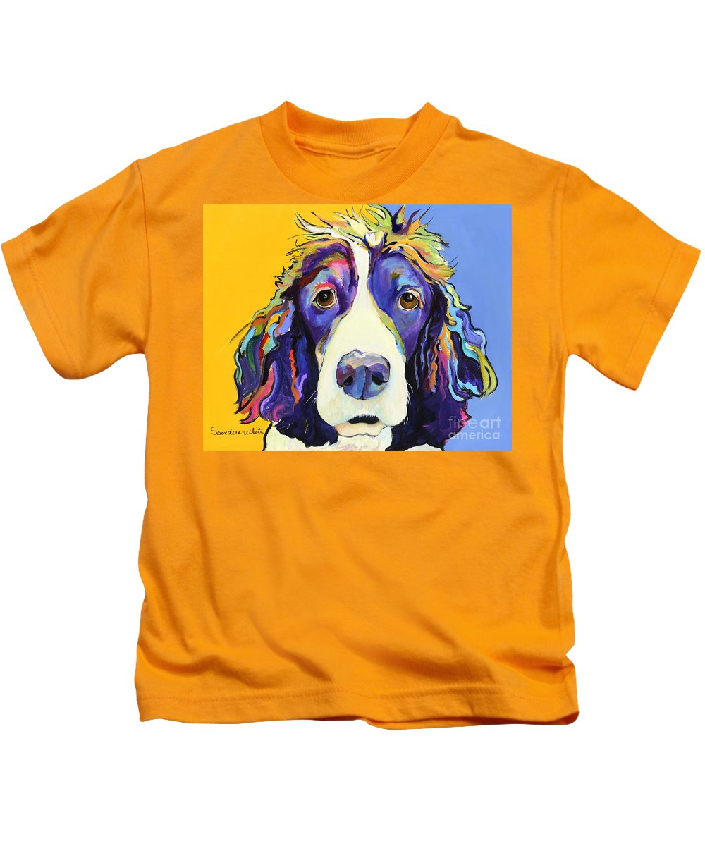 Blue Kids T-Shirt featuring the painting Sadie by Pat Saunders-White