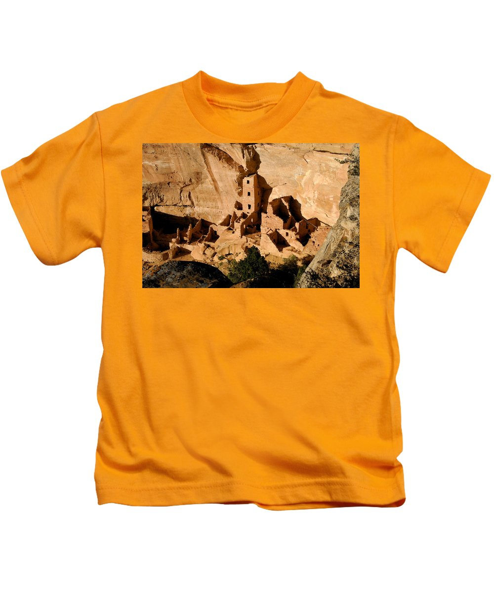 Square Tower Ruin Kids T-Shirt featuring the painting Square Tower Ruin by David Lee Thompson