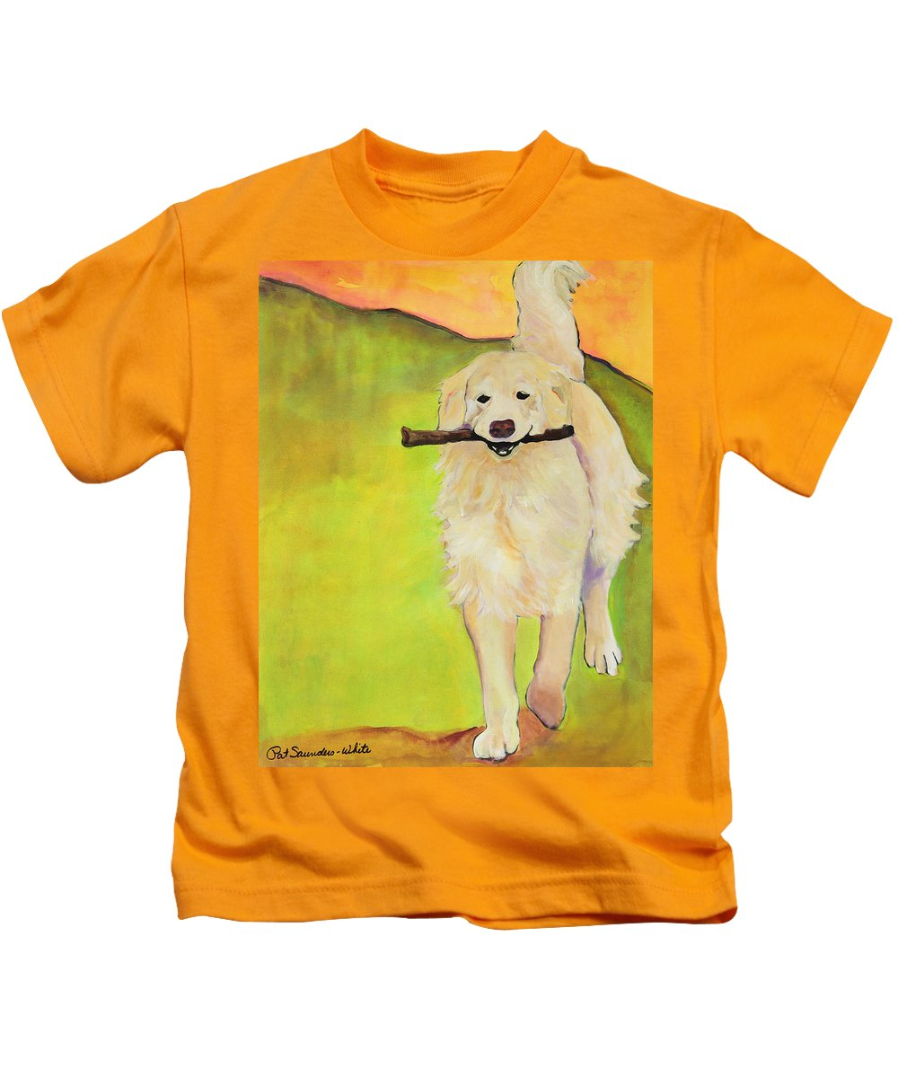 Dog Portraits Kids T-Shirt featuring the painting Stick Together by Pat Saunders-White