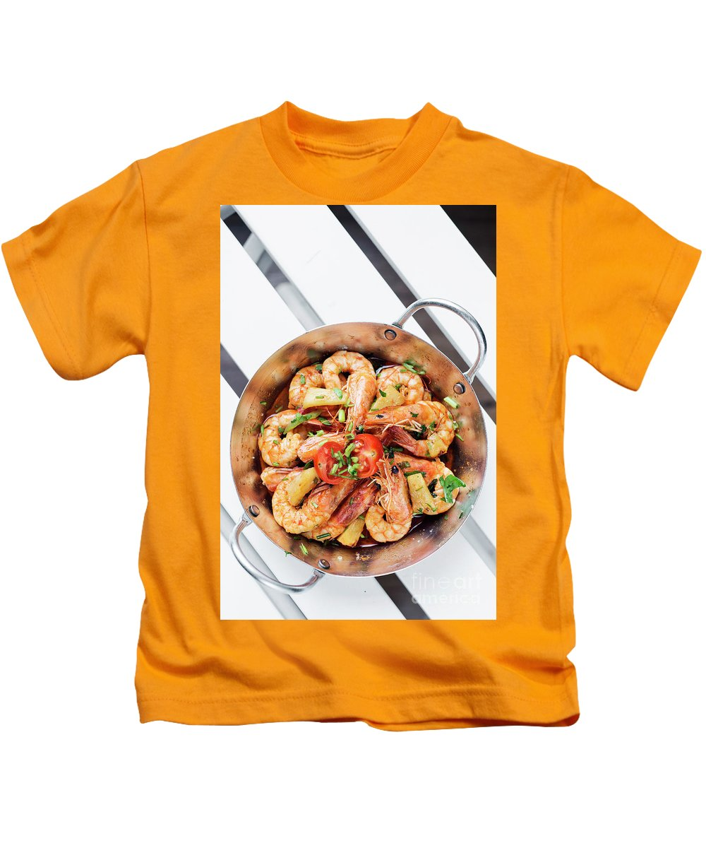 Asia Kids T-Shirt featuring the photograph Stir Fry Prawns In Spicy Asian Pineapple And Herbs Sauce by Jacek Malipan