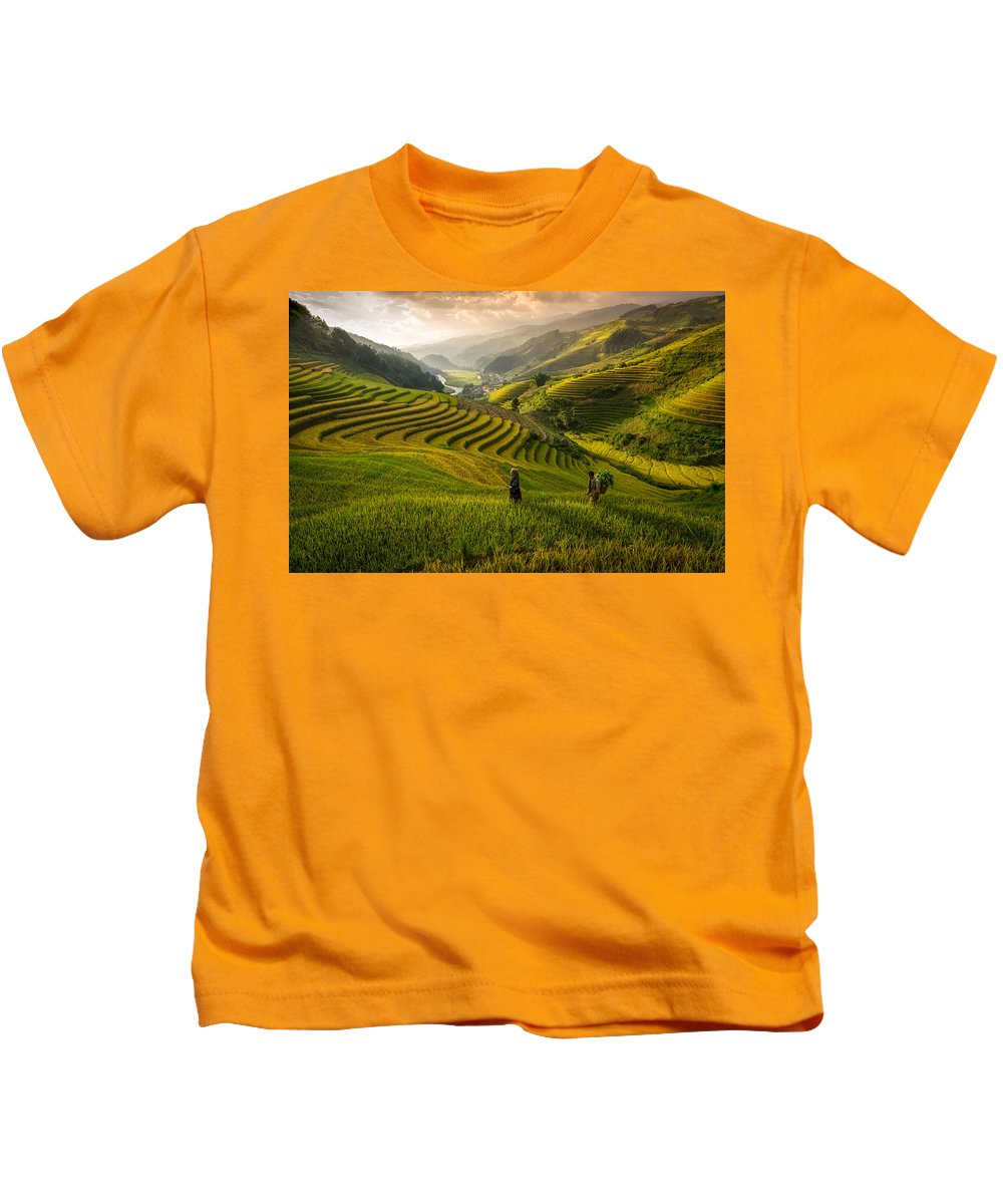 Hill Kids T-Shirt featuring the photograph Valley In Sunset by Pham Ty