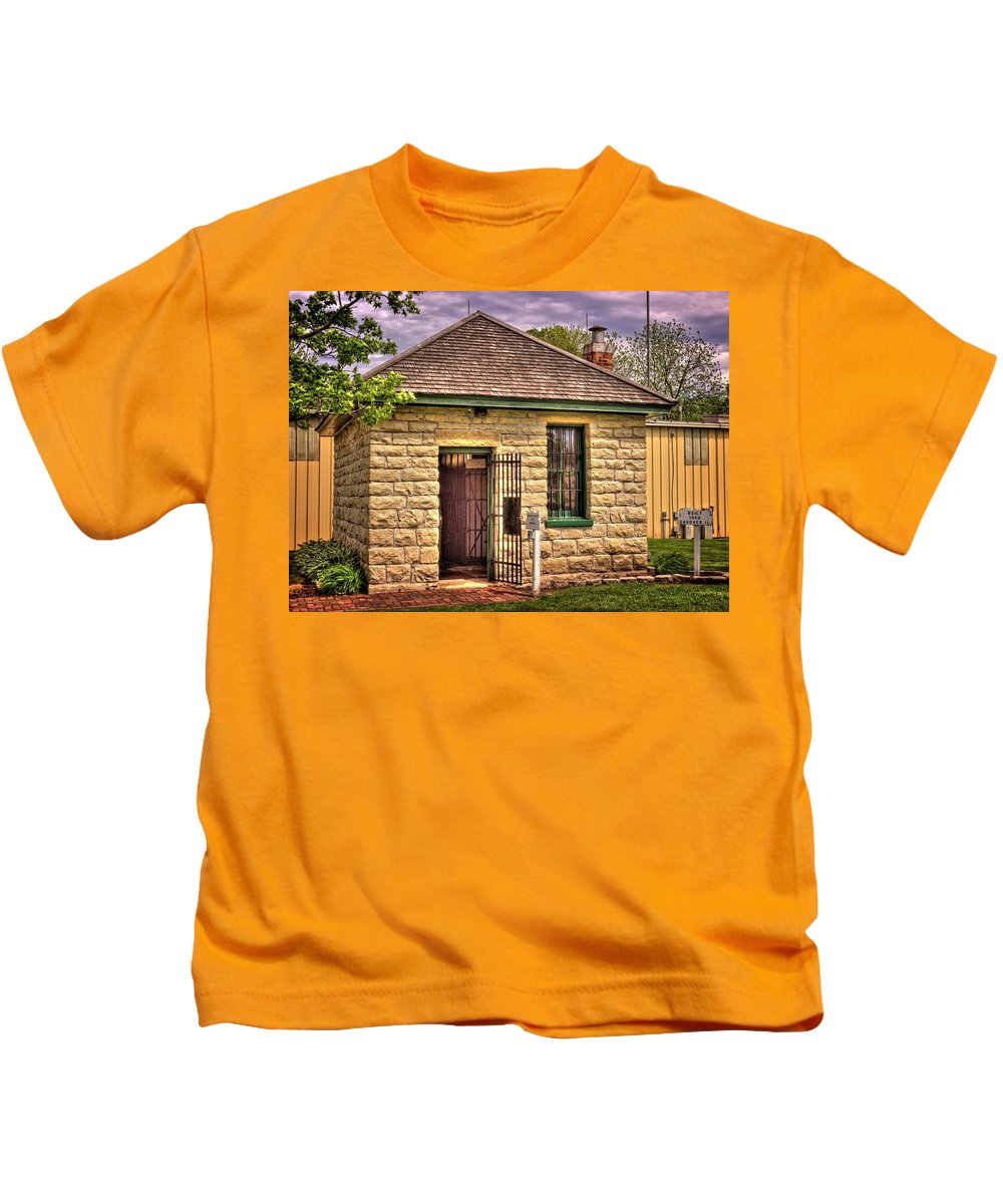 Gardner Kids T-Shirt featuring the photograph 2 Cell Jailhouse by Fred Hahn