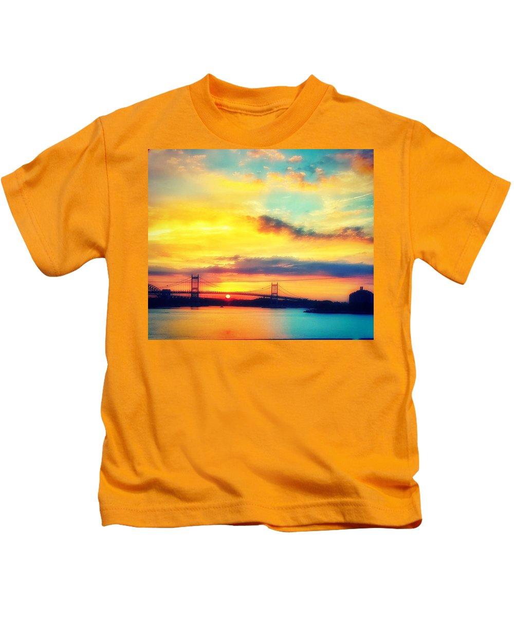 Bridge Kids T-Shirt featuring the photograph Sunrise by Robert Villano