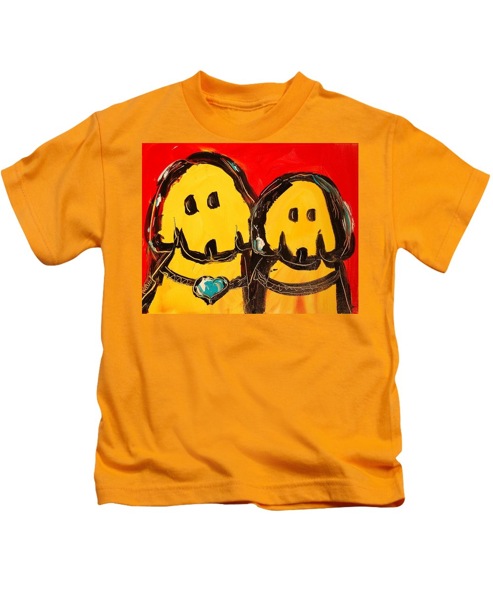 New York Kids T-Shirt featuring the painting Two Dogs by Mark Kazav