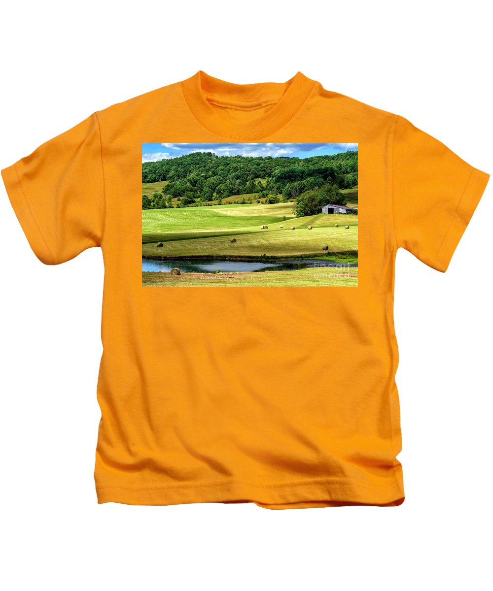 Summer Morning Kids T-Shirt featuring the photograph Summer Morning Hay Field by Thomas R Fletcher