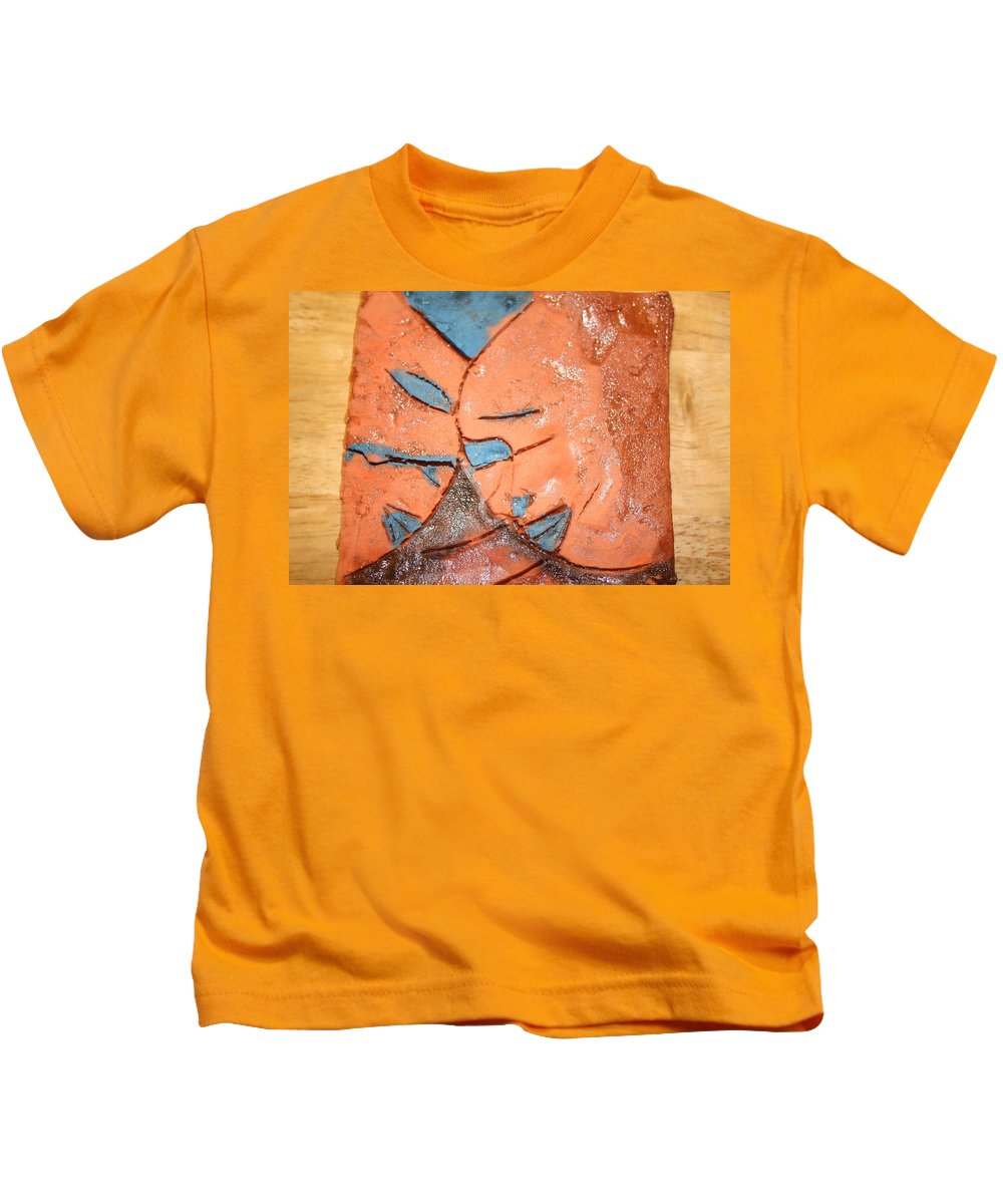 Jesus Kids T-Shirt featuring the ceramic art Mask - Tile by Gloria Ssali