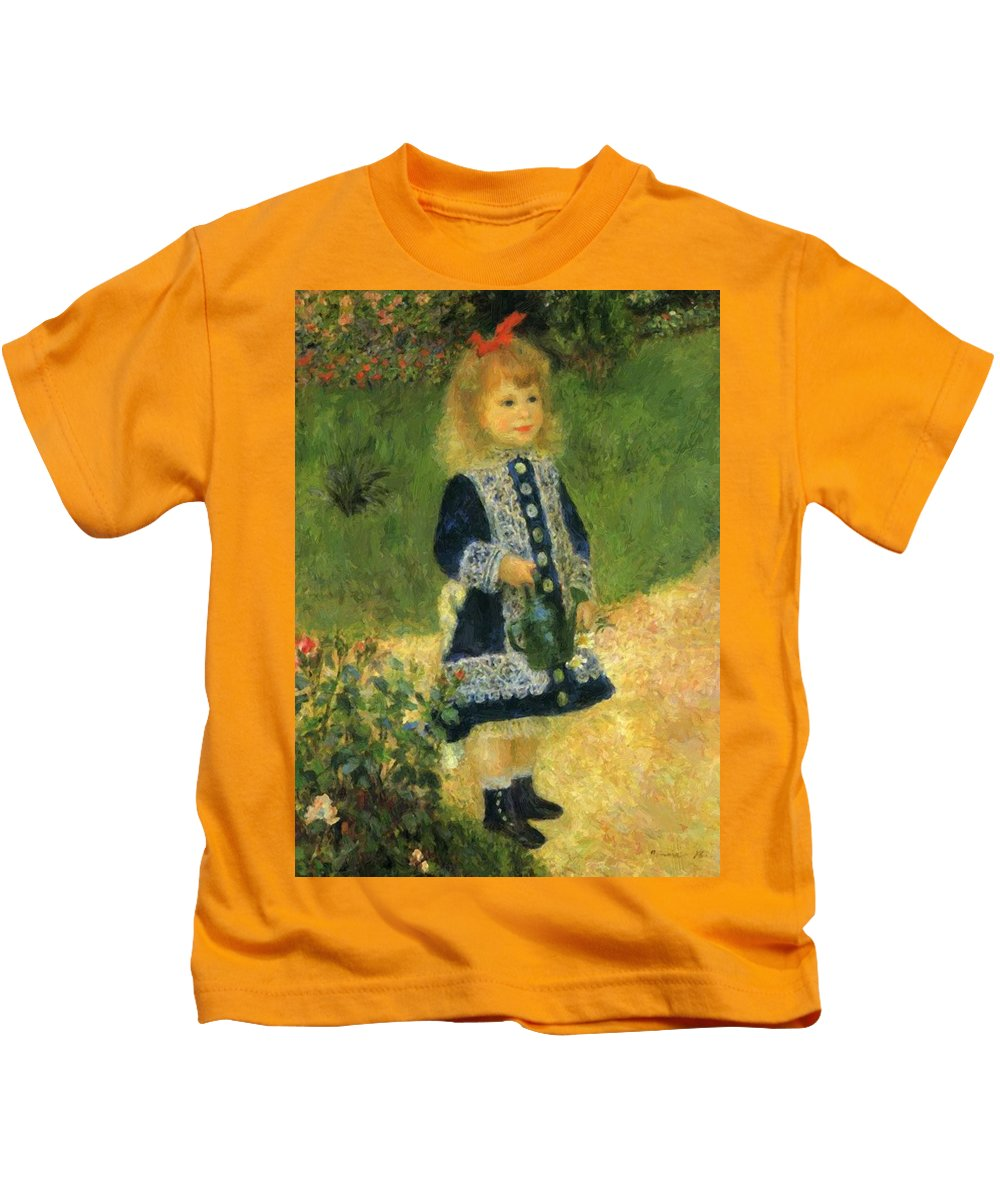 A Kids T-Shirt featuring the painting A Girl With A Watering Can 1876 by Renoir PierreAuguste