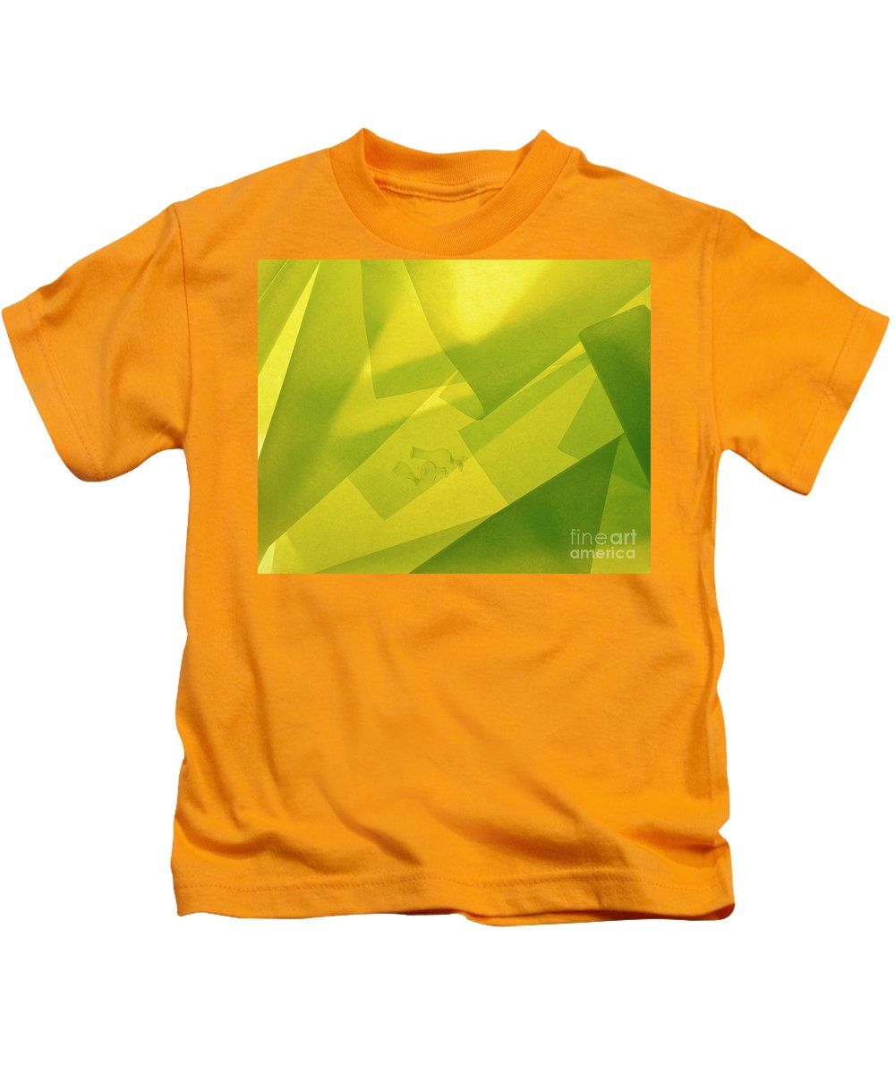 Abstract Kids T-Shirt featuring the photograph Abstract Yellow And Green With Bottles by Stefania Levi