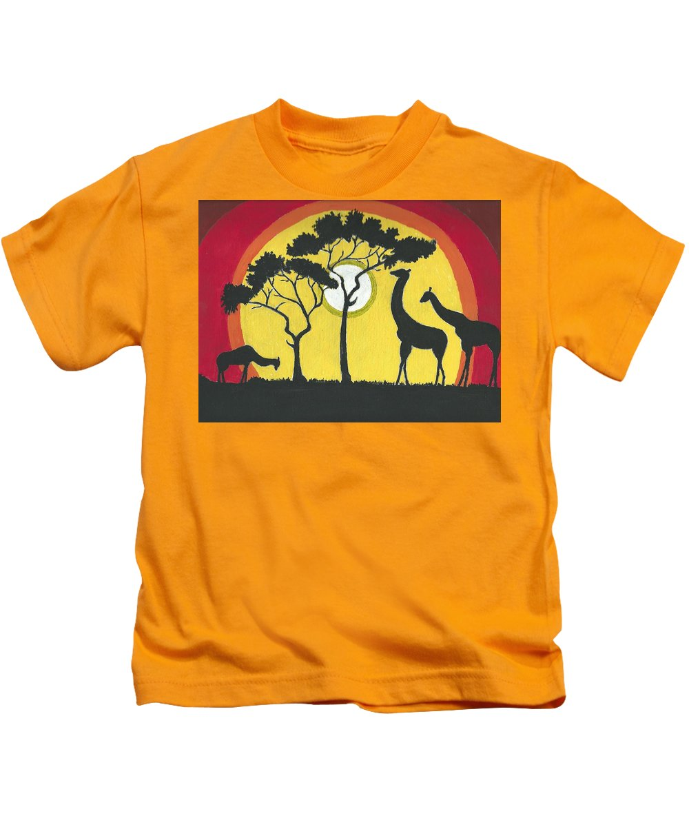 Landscape Kids T-Shirt featuring the painting Africa#1 by Ruben Cano