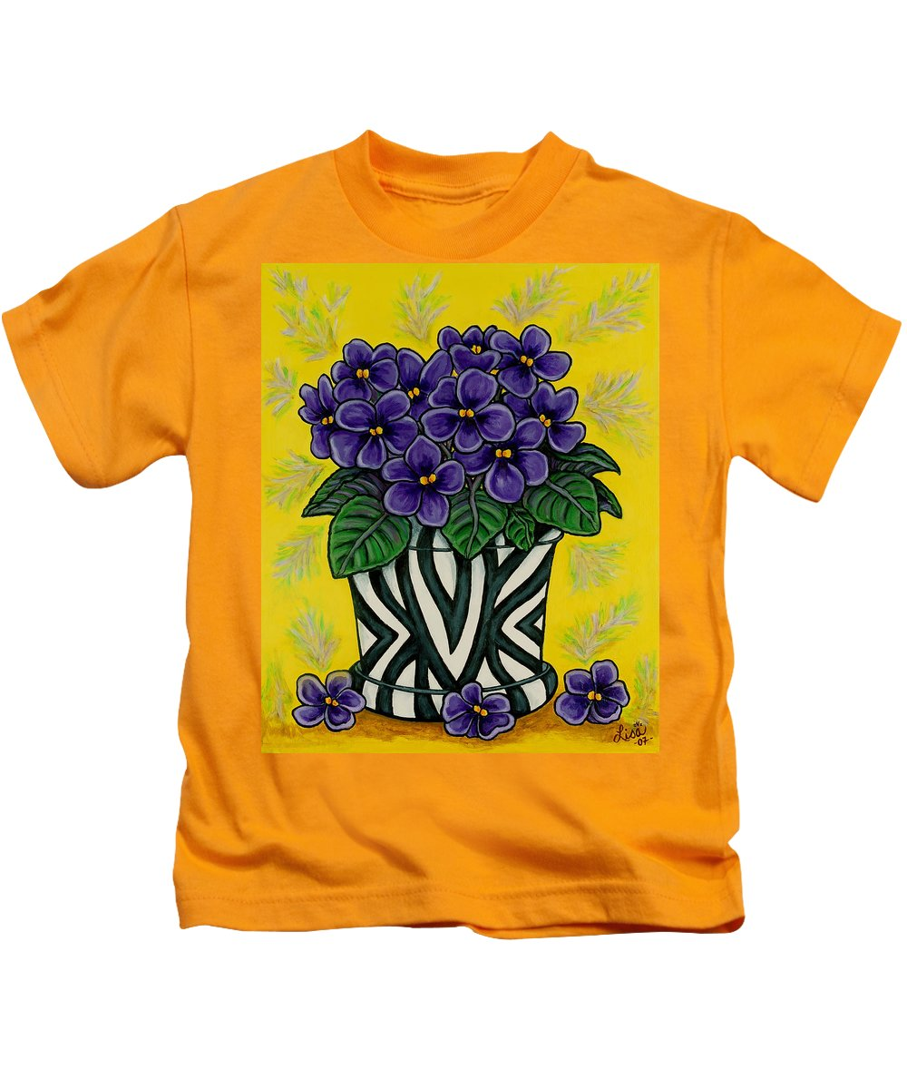 Violets Kids T-Shirt featuring the painting African Queen by Lisa Lorenz