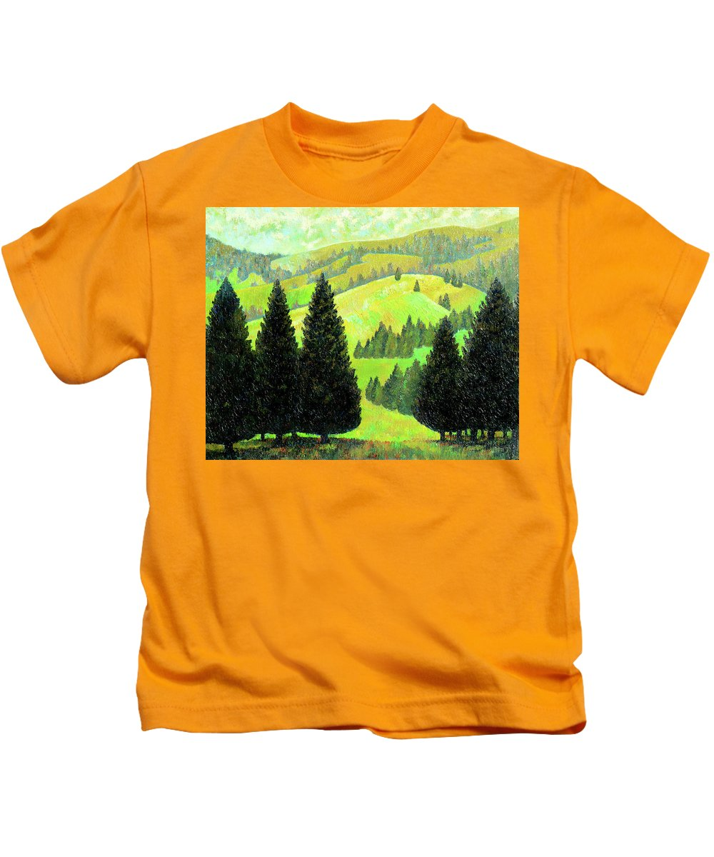 Alps Kids T-Shirt featuring the painting Alpine Hills by Richard Votch