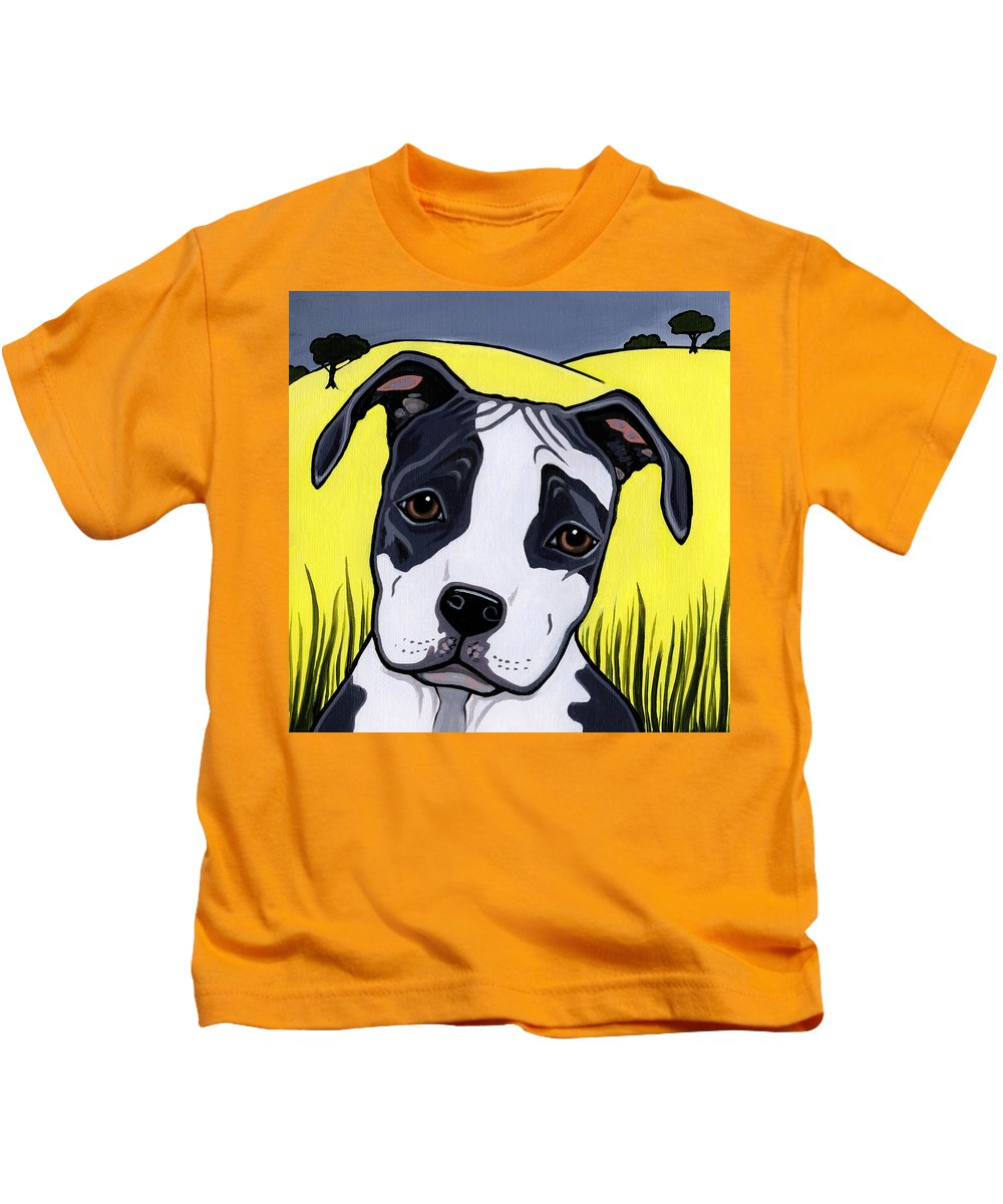 American Staffordshire Terrier Kids T-Shirt featuring the painting American Staffy by Leanne Wilkes