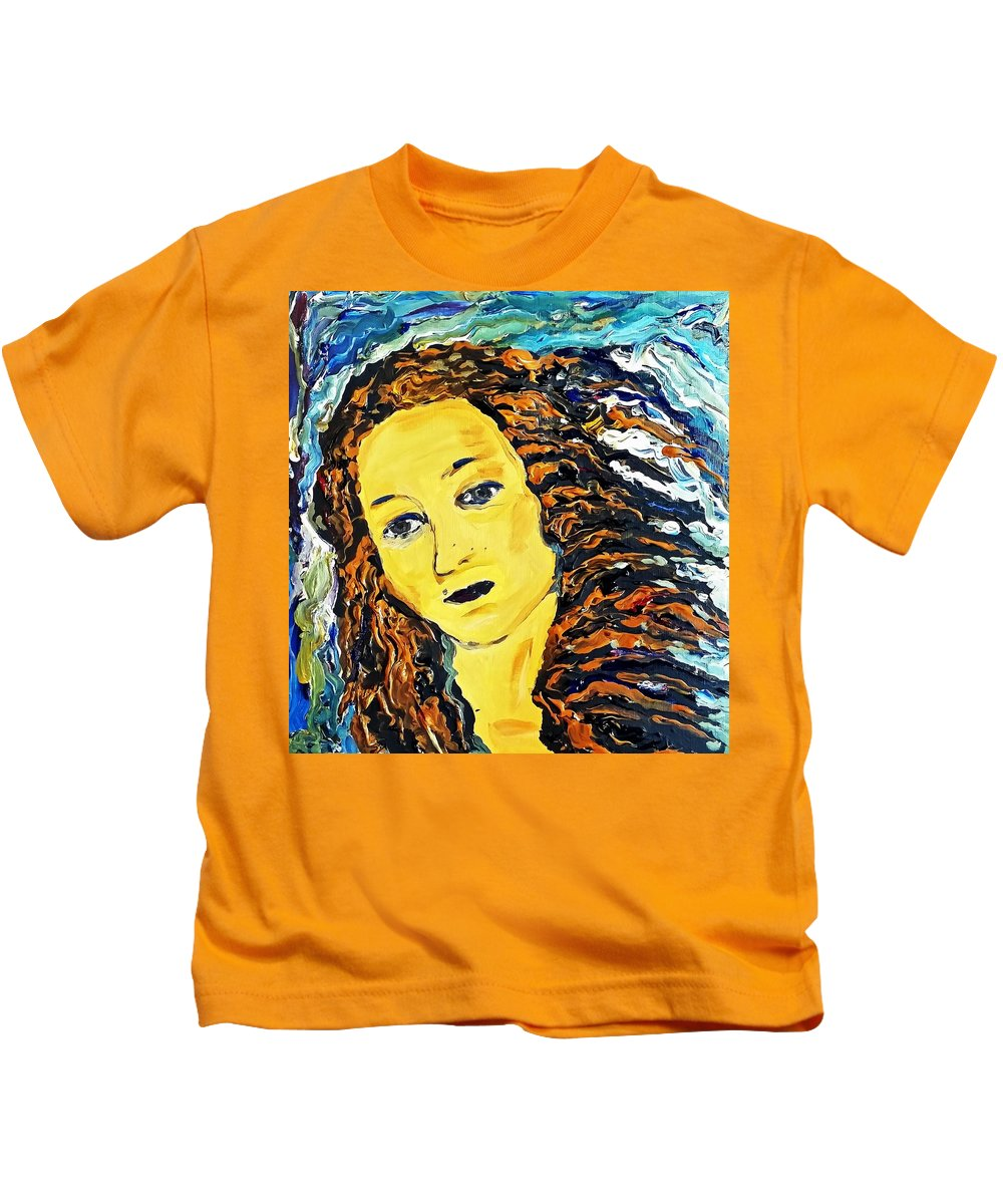 Woman Kids T-Shirt featuring the painting American Woman by Adele Fulcher