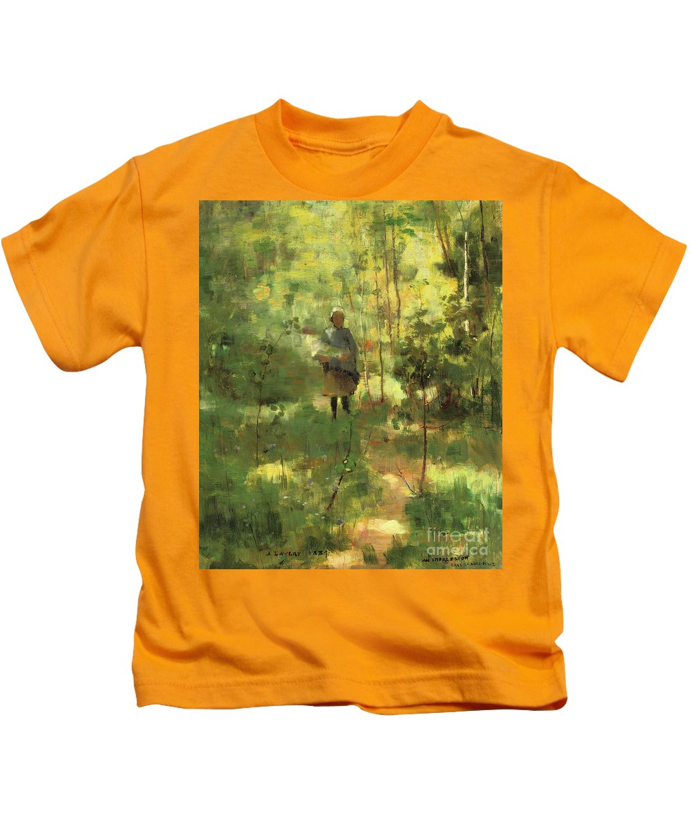 Forest.green Kids T-Shirt featuring the painting An Impression Dans La Sous Bois by John Lavery