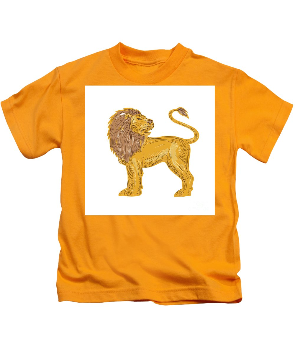Drawing Kids T-Shirt featuring the digital art Angry Lion Big Cat Roaring Drawing by Aloysius Patrimonio