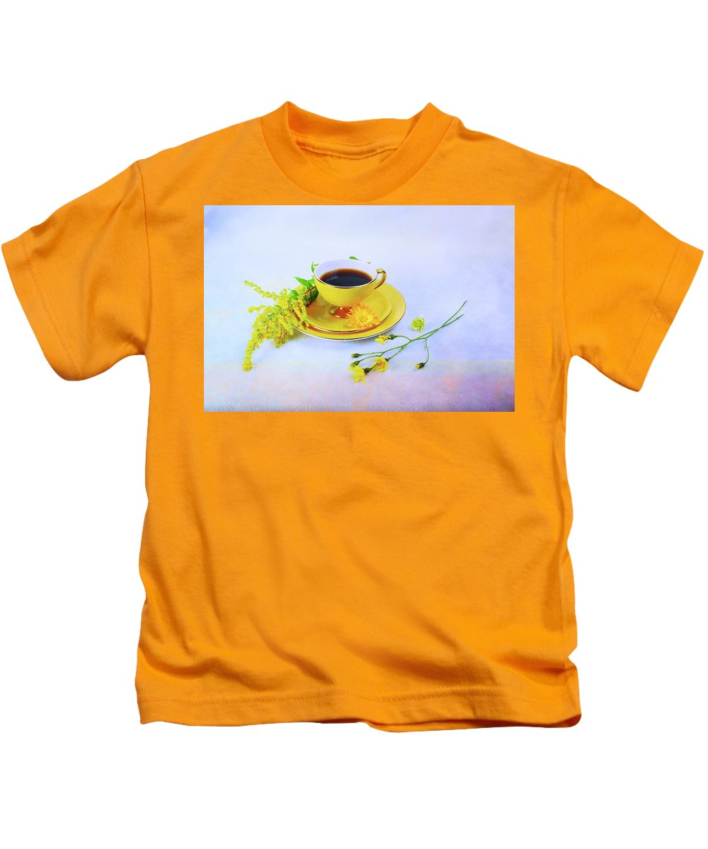 Yellow Kids T-Shirt featuring the photograph Another Cup Of Coffee by Randi Grace Nilsberg