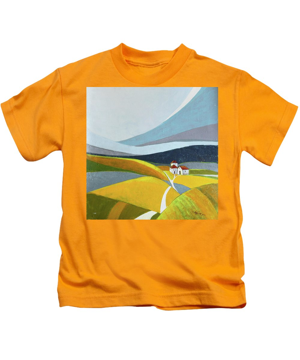 Landscape Kids T-Shirt featuring the painting Another Day On The Farm by Aniko Hencz