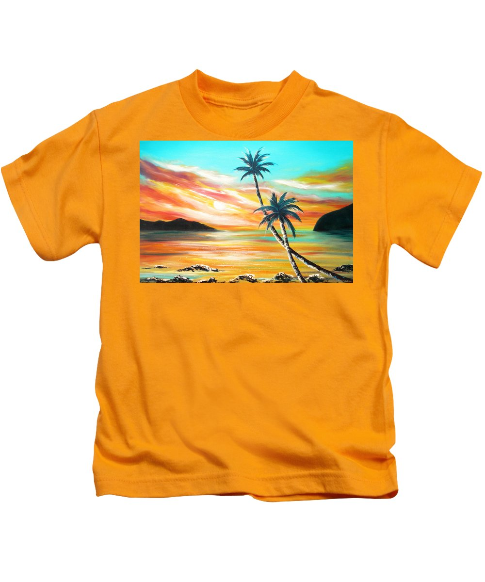 Sunset Kids T-Shirt featuring the painting Another Sunset In Paradise by Gina De Gorna
