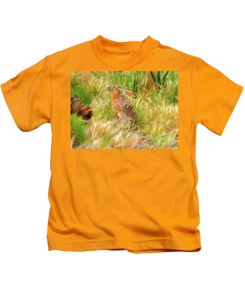 Art Kids T-Shirt featuring the painting Antelope Jackrabbit by David Lee Thompson