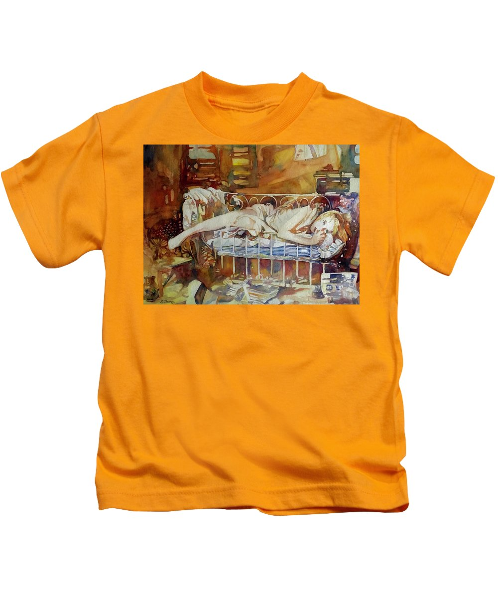 Girl Kids T-Shirt featuring the painting Baby Doll by Francoise Chauray