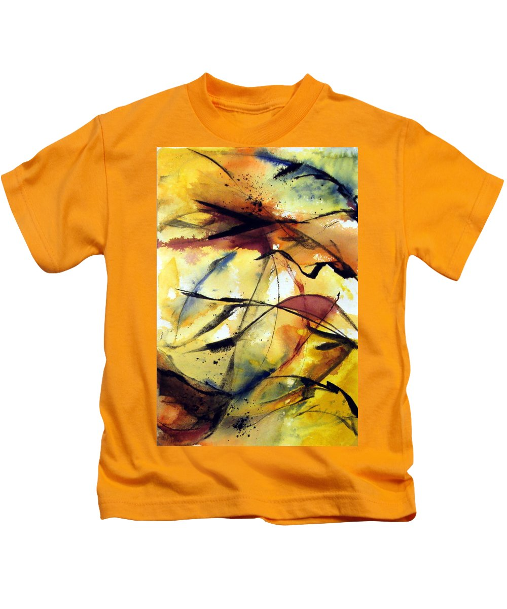 Abstract Kids T-Shirt featuring the painting Autumn Leaves by Viv Newing