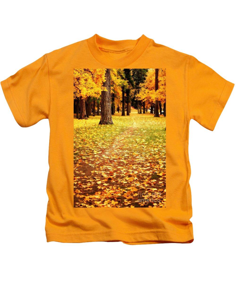 Autumn Kids T-Shirt featuring the photograph Autumn Walk In Spokane by Carol Groenen