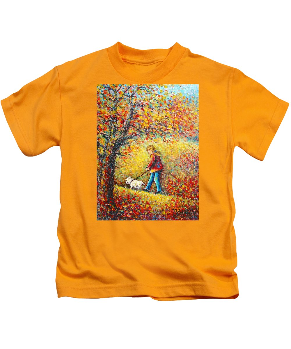Landscape Kids T-Shirt featuring the painting Autumn Walk by Natalie Holland