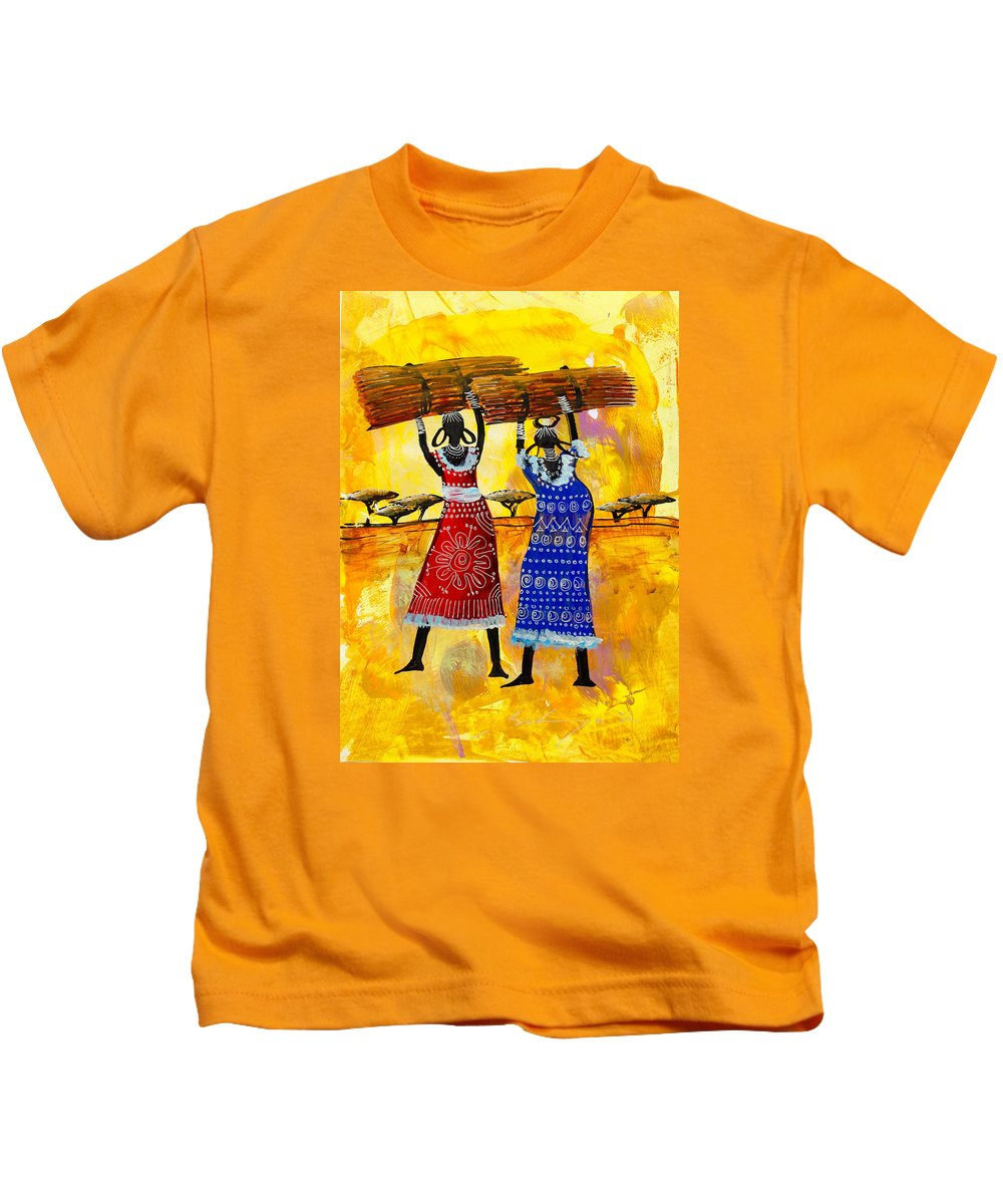 True African Art Kids T-Shirt featuring the painting B 351 by Martin Bulinya