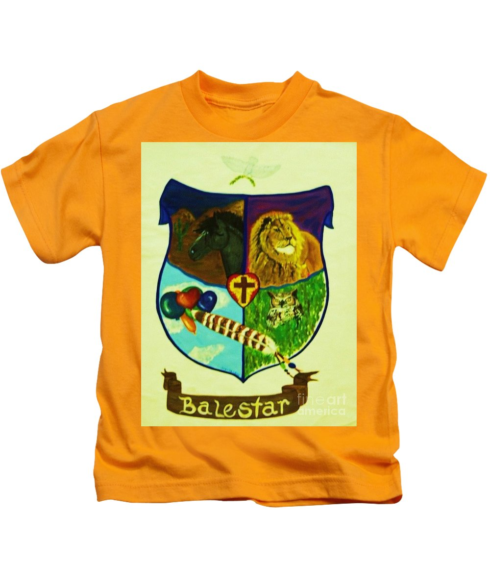 Lion Kids T-Shirt featuring the painting Balestar Crest by Jamey Balester
