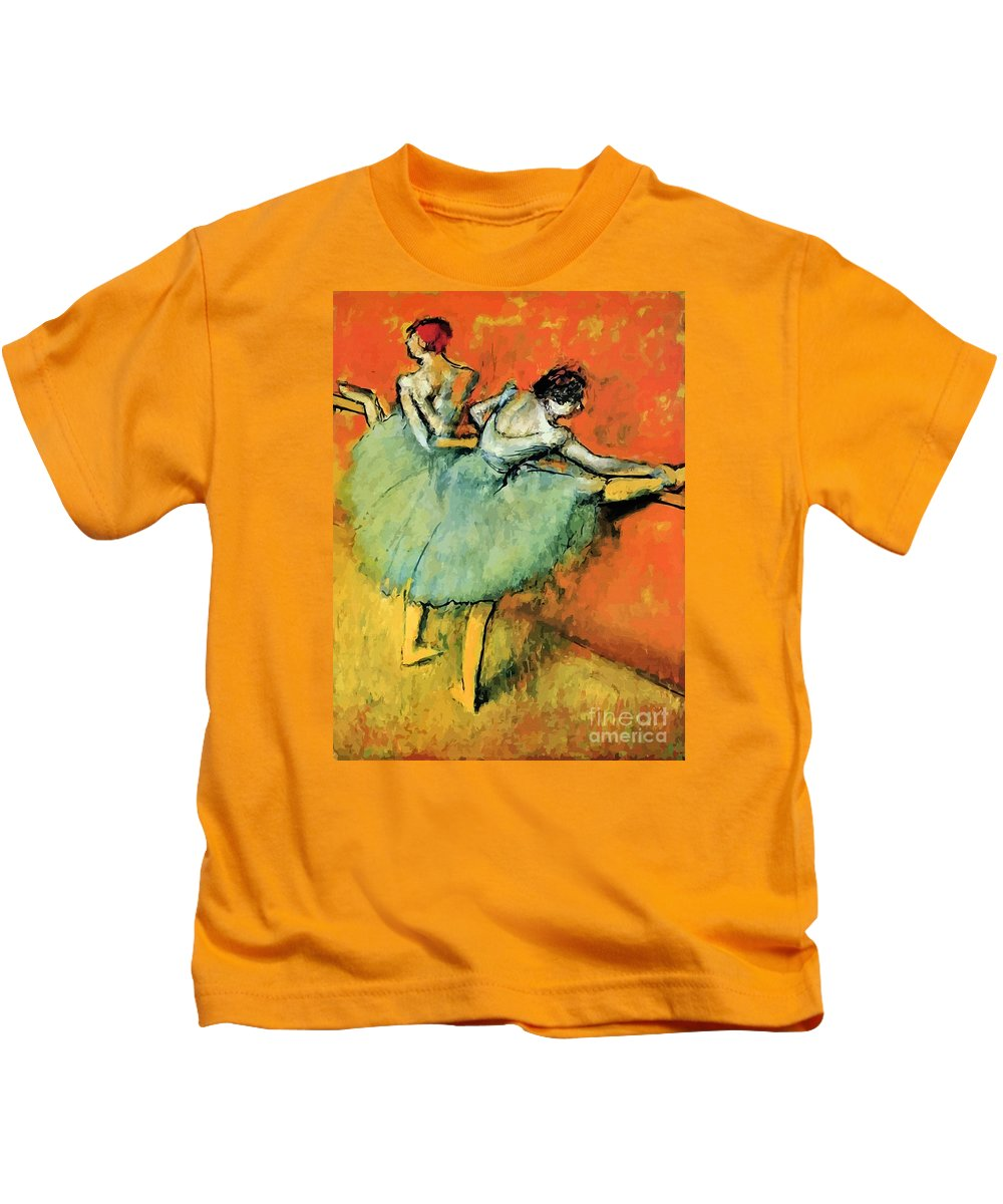 Ballet Kids T-Shirt featuring the painting Ballet Dancers At The Barre by Heidi De Leeuw