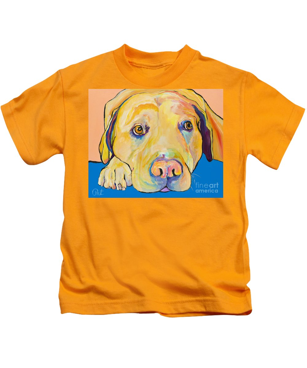 Dog Paintings Yellow Lab Puppy Colorful Animals Pets Kids T-Shirt featuring the painting Bath Time by Pat Saunders-White