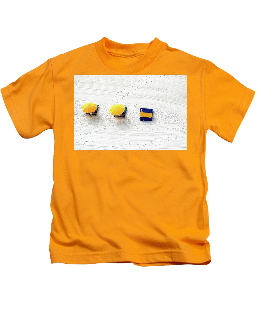 Orange Kids T-Shirt featuring the photograph Beach Tracks by Erich Grant