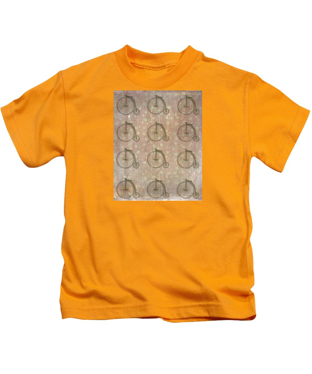Bike Kids T-Shirt featuring the photograph Big Wheels Turning by Larry Bishop