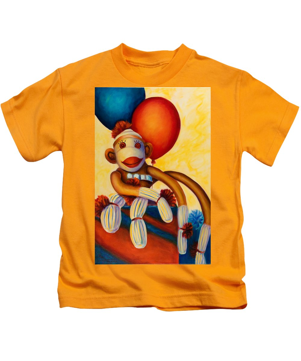 Sock Monkey Brown Kids T-Shirt featuring the painting Birthday Made Of Sockies by Shannon Grissom