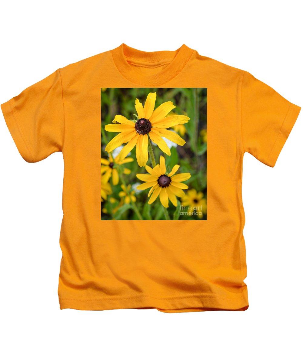 Macro Kids T-Shirt featuring the photograph Black-eyed Susan by Lisa Kilby