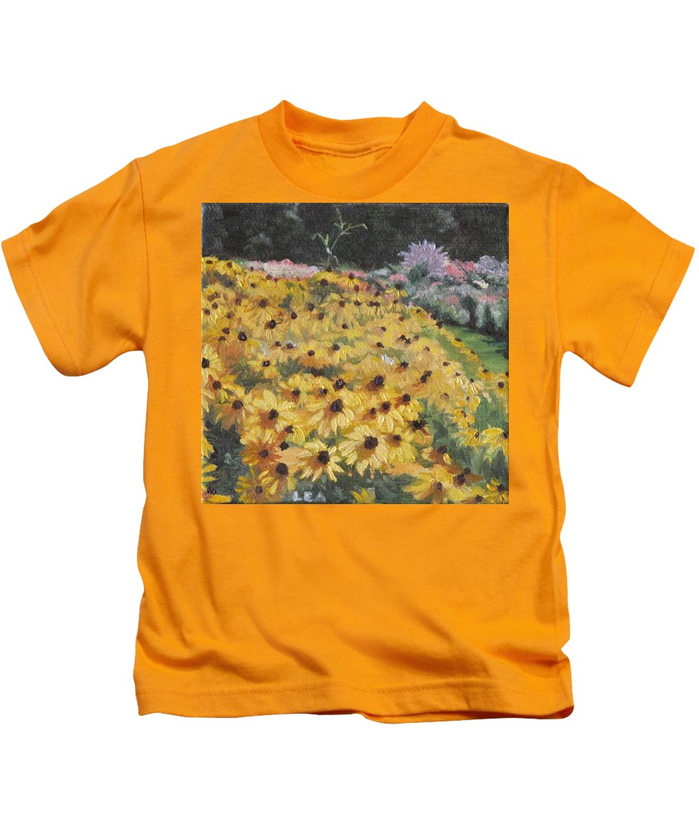 Floral Kids T-Shirt featuring the painting Black-eyed Susans by Lea Novak