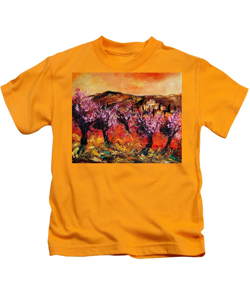 Provence Cherrytree Summer Spring Kids T-Shirt featuring the painting Blooming Cherry Trees by Pol Ledent