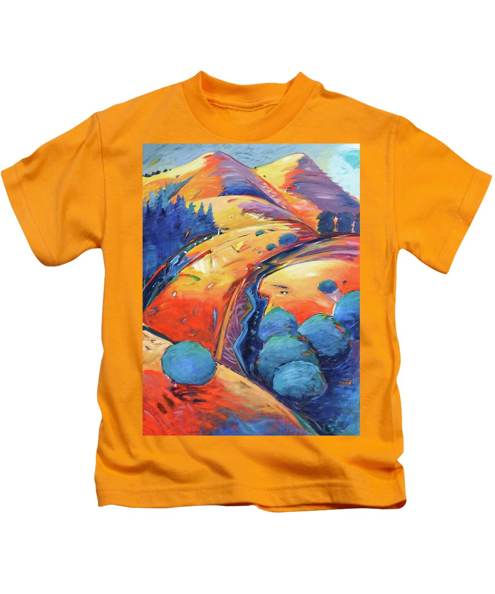 Hills Kids T-Shirt featuring the painting Blue And Gold by Gary Coleman