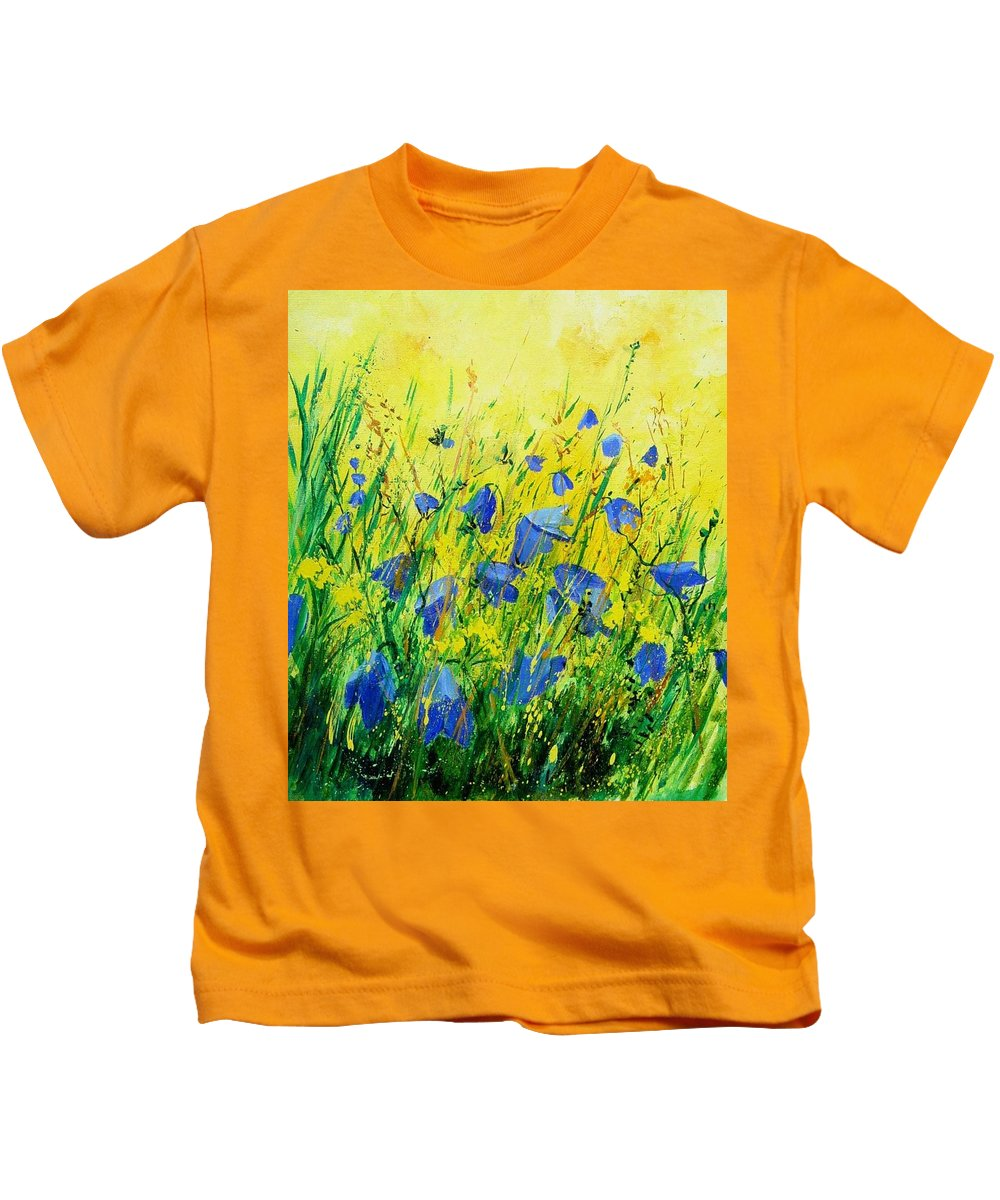 Poppies Kids T-Shirt featuring the painting Blue bells by Pol Ledent