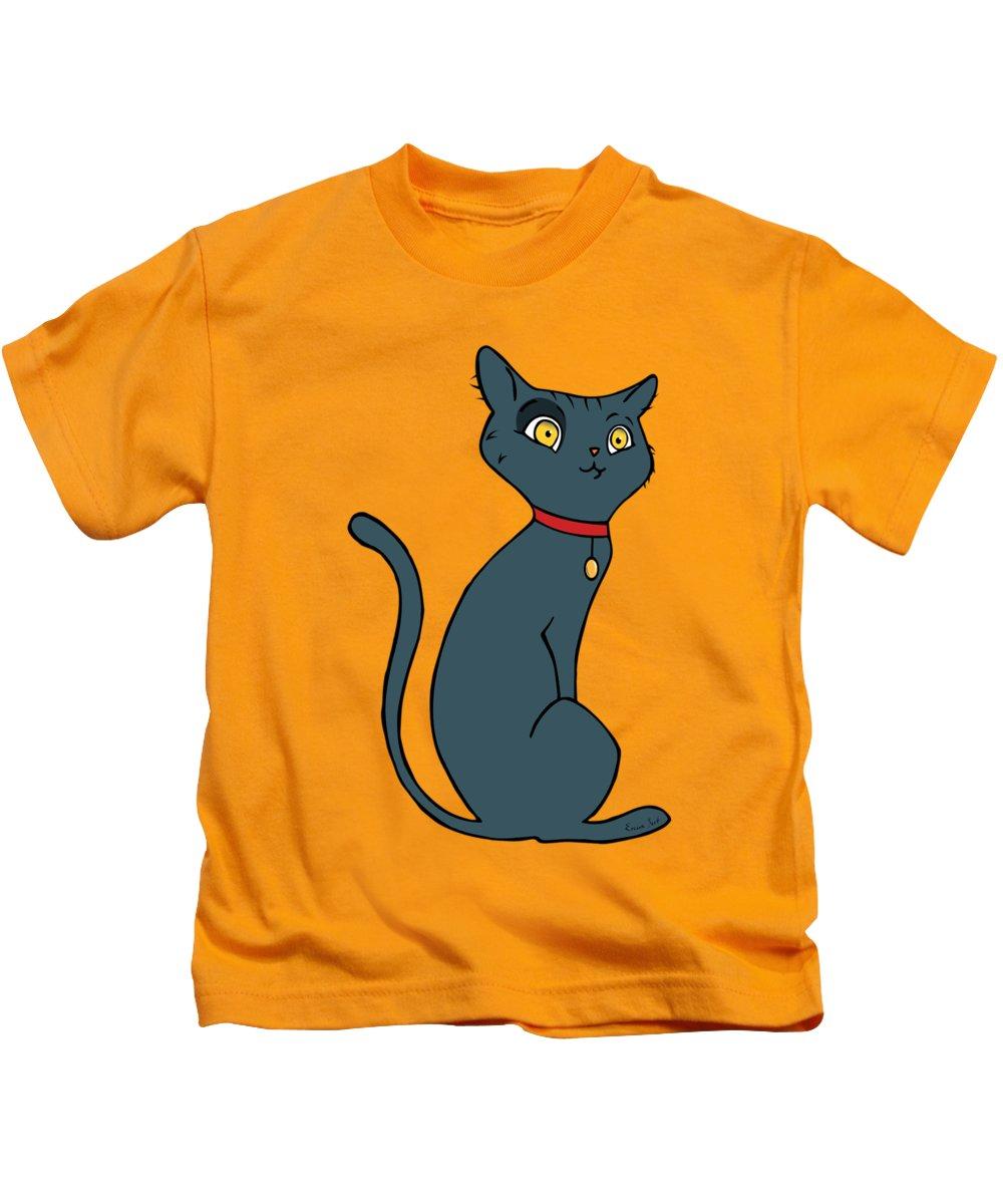 Cat Kids T-Shirt featuring the painting Blue Cat by Erjan Sert