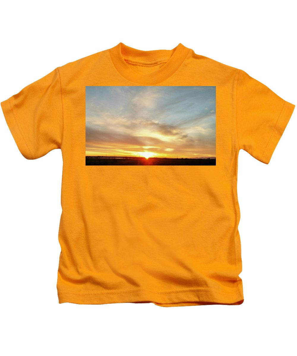 Blue Sky And Sunrise Kids T-Shirt featuring the photograph Blue Sky And Sunrise by Peggy Leyva Conley