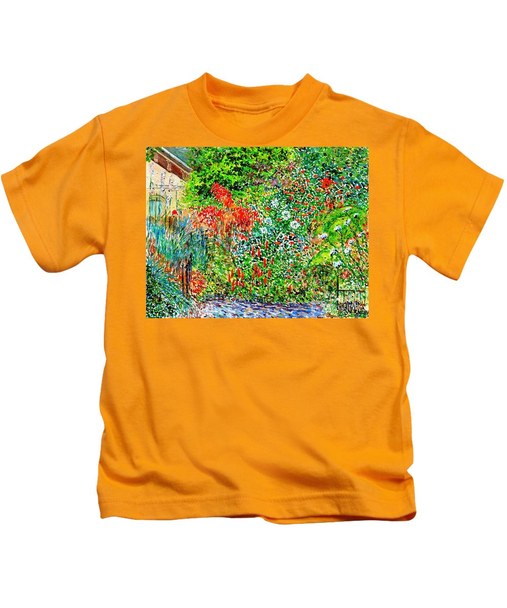 Botanical Garden Kids T-Shirt featuring the painting Botanical Garden by Anthony Butera