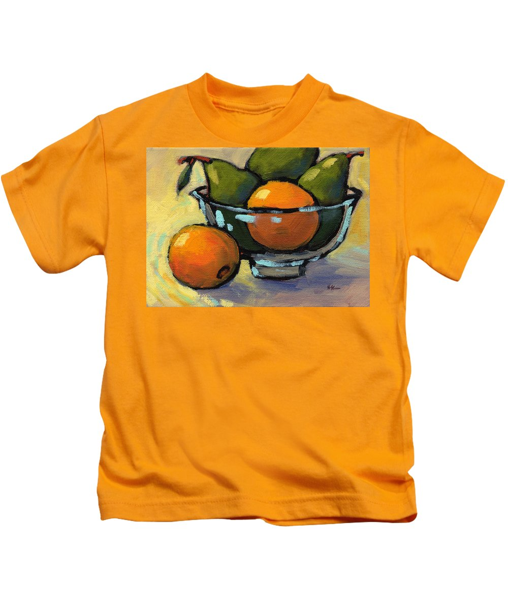 Bowl Of Fruit Kids T-Shirt featuring the painting Bowl Of Fruit 4 by Konnie Kim