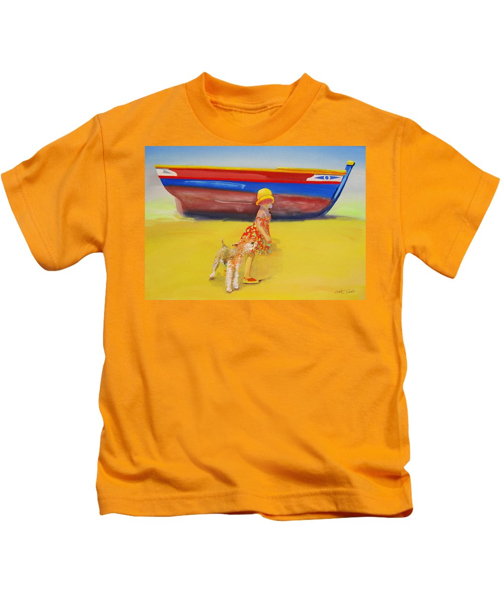 Wire Haired Fox Terrier Kids T-Shirt featuring the painting Brightly Painted Wooden Boats With Terrier And Friend by Charles Stuart