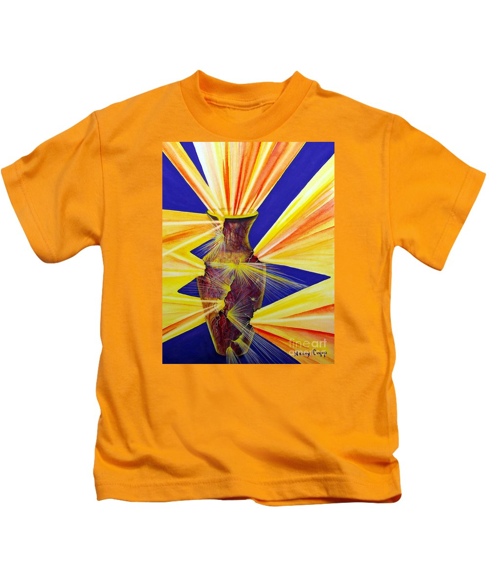 God Kids T-Shirt featuring the painting Broken Vessel by Nancy Cupp