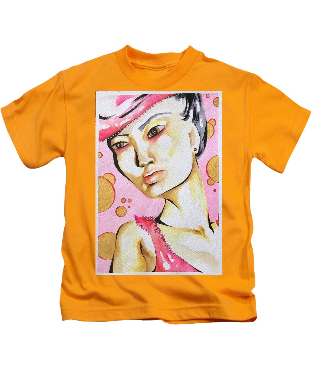 Portrait Kids T-Shirt featuring the painting Bubbles by Nicole Bresner