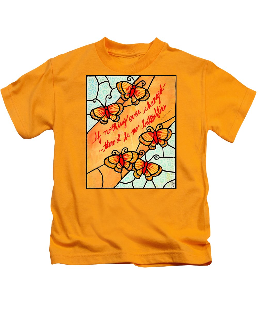 Butterfly Kids T-Shirt featuring the painting Buterflywhispers2 by Jim Harris