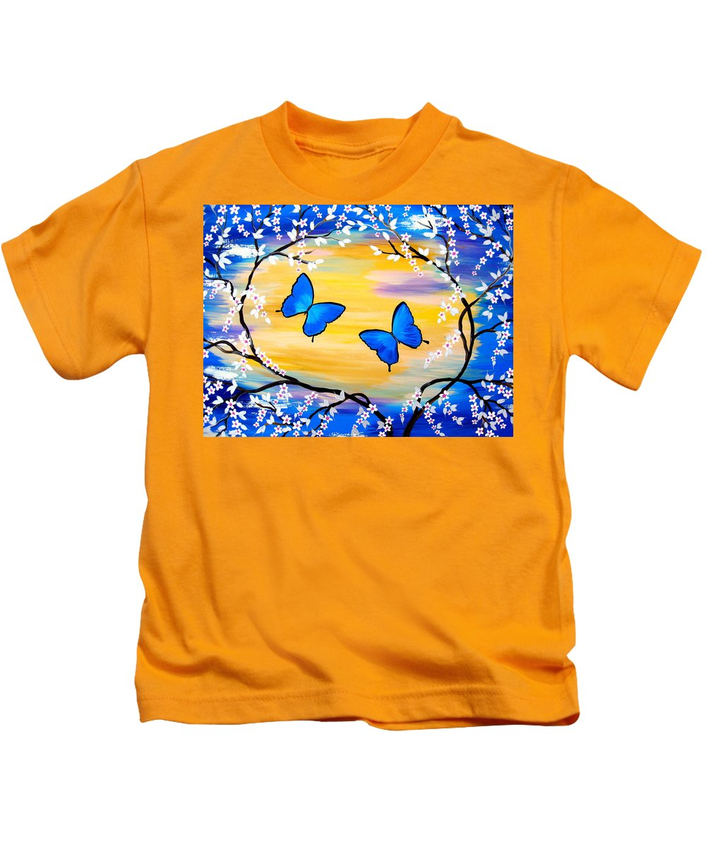 Kids T-Shirt featuring the painting Butterfly Bliss by Cathy Jacobs